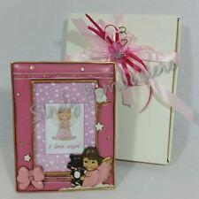 BOMBONIERa cornice per BATTESIMO portafoto con angelo orsetto femminuccia bimba