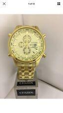 Citizen Men's Gold Tone Chronograph Alarms Quartz Bracelet Watch AL3882-50P
