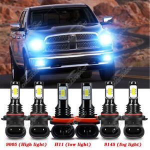 For 2009-2012 Dodge Ram 1500 2500 3500 - 8000K LED Headlight +Fog Light 6x Bulbs