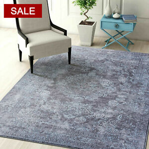 Clear Stock Aqua Grey Floor Rugs Allover Distressed Persian Office Chair Carpet