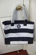 AUTH Tory Burch Ella Packable Tote in Navy Bar Stripe NWT
