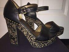 NIB $1K Prada Runway Black Saffiano Leather Platform Heels Sandal Shoes 39 8.5 9