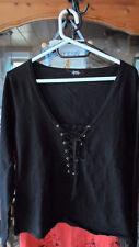 schöner Damen Feinstrick Pullover Schnürung Melrose schwarz Gr 40 42 44 46 edel!