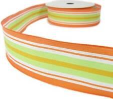 "5 Yds SALE Citrus Orange Green White Stripe Wired Ribbon 1 1/2""W"