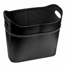 Oval Storage Box Black Leather Effect with Diamante Detail & Cut Out Handles