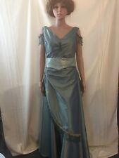 Mint Green Womens Victorian/Edwardian Gown With Belt and Attached Bustle Size 10