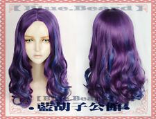 Descendants 3 Mal Wig Cosplay Wig Hair Tail Curly Wig Purple Blue Wavy Hair Wig