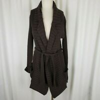 Coolwear Long Tie Sash Open Front Wrap Ribbed Cardigan Sweater Jacket Womens L