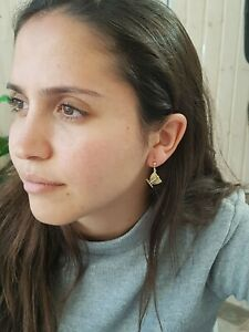 Menorah Earrings Gold Charm Pendant 9 Nine Branch Jewish Jewelry Judaica Women