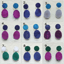 Stylish Agate Druzy Silver Plated Stud Cum Double Sided Jacket Earring Jewelry