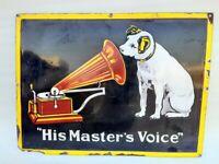 His Master's Voice Gramophone 1930 Vintage Old Rare Porcelain Enamel Sign Board