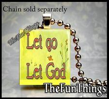 Let Go Let God Scrabble Tile Necklace Pendant Custom Serenity Surrender Bird 01