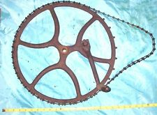 17'' WHEEL, 60'' Chain Primitive Cast Iron gear vintage barn Industrial Punk