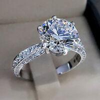 3.00 Ct Round Cut Diamond 14K White Gold Finish Women's Engagement Wedding Ring