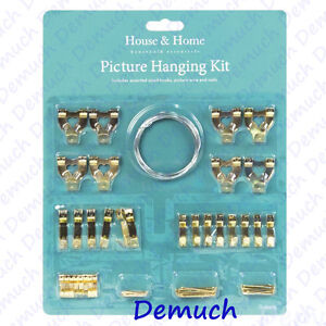 New 60 Piece PICTURE HANGING KIT Frame Hooks Wire Nails Tacks Canvas Mirror UK✔