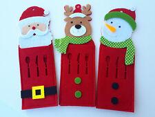 6 portaposate natalizi panno feltro rosso, 3 fantasie all'interno della conf.