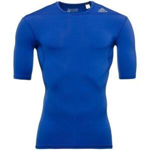 Adidas Mens Techfit Blue Base Layer Short Sleeve Sports Football Activewear Tee