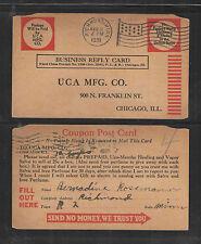 1931 UCA MFG CO CHICAGO COUPON POST CARD MANTHO HEALING VAPOR SALVE US POSTCARD
