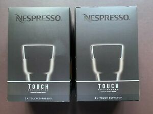 2 Sets (4pcs) Nespresso 2 Touch Espresso Cups (80ml) In Black Porcelain  NIB