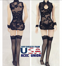 "1/6 Sexy Lace Dress Stockings Set BLACK For 12"" Phicen Hot Toys Kumik Female USA"