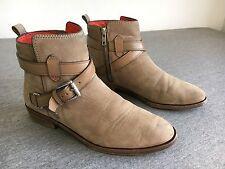 COACH Boots LEODA 1968 Ankle Zip Super Soft Leather Tan Nubuck Women's 7 EUC