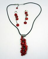 """20"""" necklace matching dangle earring jewelry set red beads stainless steel"""