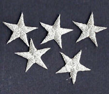 "STARS - Silver Metallic 5/8"" Star(5 Pc)-Iron On Embroidered Applique/Astrolog"