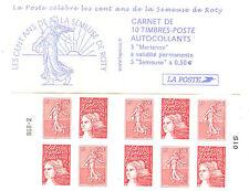 """carnet de timbres neufs n°1511 de 2003, """"les 100 ans de la Marianne de Roty""""."""
