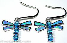 Solid 925 Sterling Silver Blue Fire Opal Inlay and Blue Topaz Dragonfly Earrings