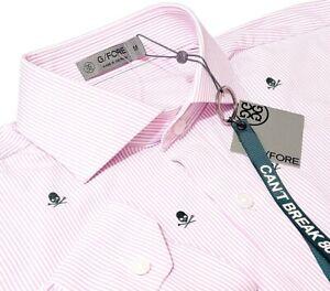 NWT G/Fore Nylon Pink/White Striped Button-Down Skull & Tees Shirt - Mens Medium