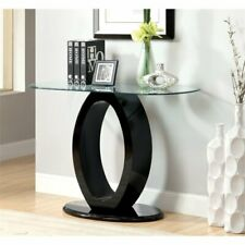 Furniture of America Mason Glass Top Console Table in Black