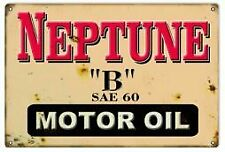 Vintage Antique Style Metal Sign Neptune B Motor Oil 18x30