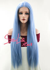 "28"" Long Straight Light Blue Lace Front Synthetic Hair Wig Heat Resistant"