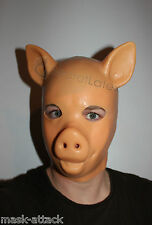 LATEX FLESH GUM FETISH PIG PIGLET FULL HEAD RUBBER SKIN HOOD MEN ZIP ANIMAL MASK