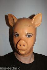 LATEX FLESH GUM FETISH PIG PIGLET FULL HEAD RUBBER SKIN HOOD MEN ZIP ANIMAL MASK
