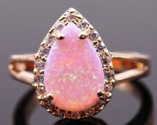 925 Silver Sz 9 Pink Fire Opal Moonstone Drop Rose Gold Band Ring USA SELLER