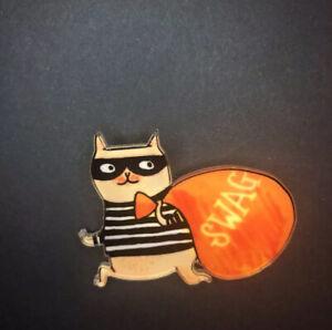 Quirky Squirrel Cat Stripe Burglar Thief Swag Funky Steampunk Acrylic Brooch