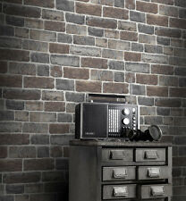 Brick Effect Wallpaper by Rasch - Urban Stone Brown/Grey 217339