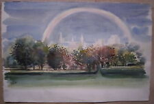 aquarelle de Guy Fantou jardin sous l'arc en ciel