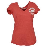 NCAA Wisconsin Badgers Short Sleeve Womens Adult Red Tshirt Tee V Neck Sports