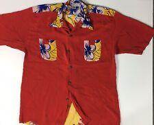 An Original Avanti Men Red Hawaian Woman Floral Shirt Size Xxl Silk Vintage A2