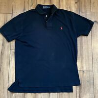 POLO Ralph Lauren Mens Black Polo SS Shirt with Red Pony Medium M