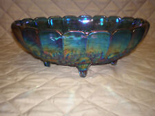 Vintage Indiana Carnival Glass Blue Iridescent Harvest Grapes Large Footed Bowl