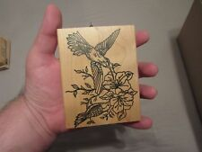 HUMMINGBIRD WOOD MOUNTED RUBBER STAMP SCRAPBOOK ME & CARRIE LOU GREAT SHAPE