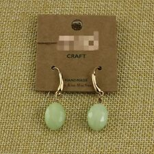 Rings`Ears Golden Drop Oval Green Glass Faceted Class Simple Retro DD8