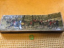 More details for antique extra long matches in large box with hunting scene painting