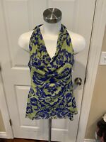 Sweet Pea by Stacy Frati Yellow & Blue Floral Print Tank Top, Size Large