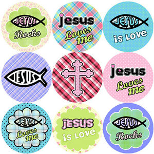 144 Jesus Rocks 30 mm Children's Christian Reward Stickers, Kids Church service