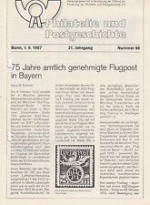 Literatur Philatelie Bayern: Rückblick 1. Marken; Vorausentwertungen, Flugpost