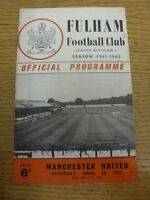28/04/1962 Fulham v Manchester United  (Folded, Small Hole To Corner, Team Chang